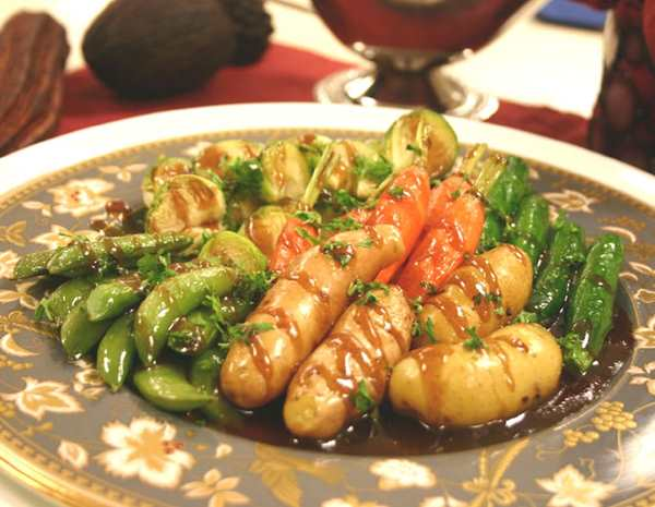 Recipe Baked Baby Potatoes and Mixed Vegetables with Oyster Flavored Sauce