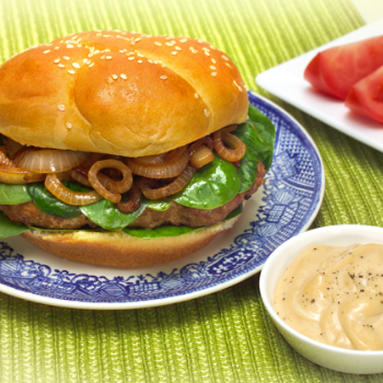 Recipe Blue Cheese Turkey Burger with Lee Kum Kee Premium Oyster Flavored Sauce S