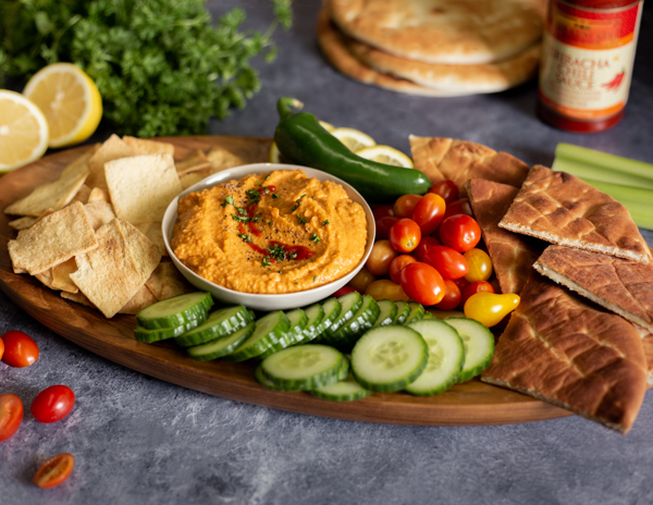 Recipe Roasted Red Pepper & Sriracha Hummus